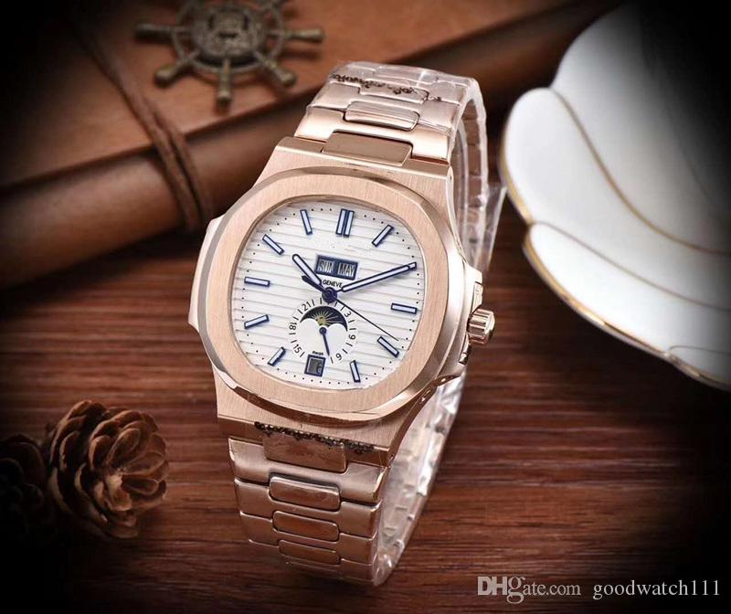 5726/1a-010 nautilus series high-end men's mechanical watches, sports series, men's brand automatic watches, sun, moon and stars functions