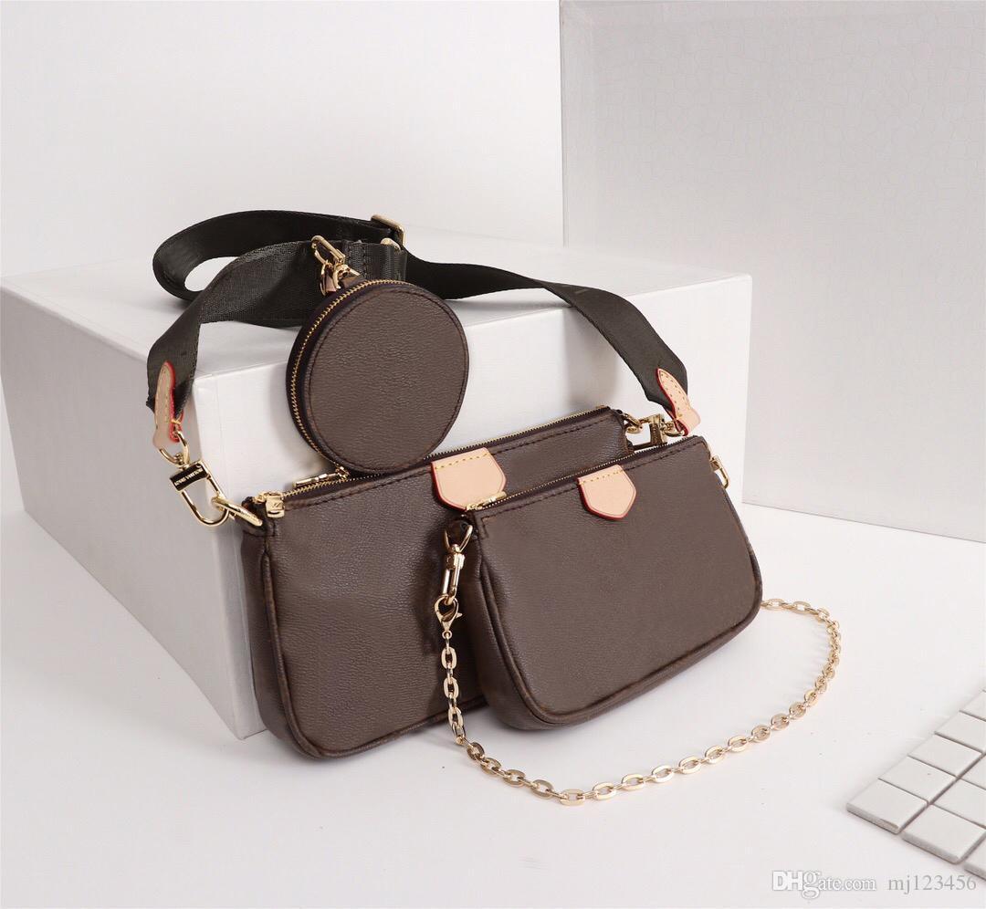 فاخر مصمم حقائب اليد المحافظ MULTI POCHETTE ACCESSORIES حقيبة المرأة حقيبة ماركة ثلاث قطع البدلة الخصر حزمة ريال جلدية الكتف