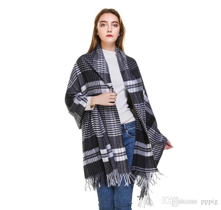 Automne et hiver dames écharpe en cachemire mode simple écharpe sauvage chaud châle écharpe classique britannique