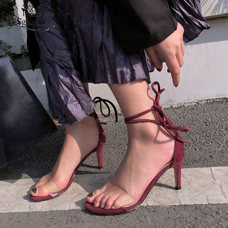 Sgesvier caviglia donne cinghia sandali in PVC trasparente sottile fascia alti talloni che wedding estate delle signore di Lace Up Donna del partito G417