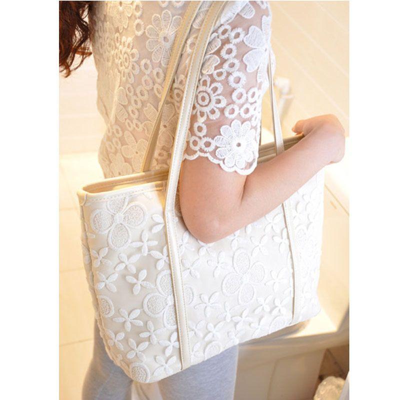 10pcs las mujeres simples arte grande ganchillo del cordón del bolso de mano de la moda frescas estudiantes del bolso de hombro de la PU
