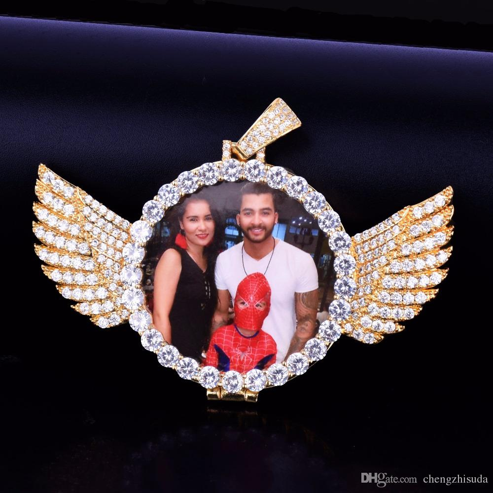 Silver Gold Custom Made Photo With Wings Medallions Pendant Necklace 3/4/5mm Tennis Chain Cubic Zircon Men Hip hop Jewelry