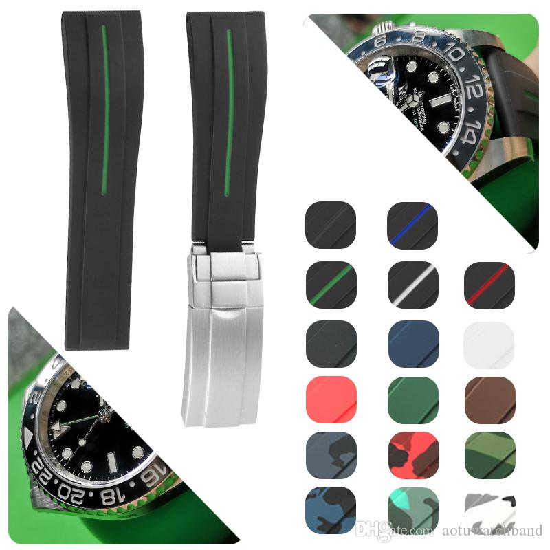 Caoutchouc Bracelet en acier inoxydable Fold boucle du bracelet montre bracelet pour GMT Oysterflex Bracelet Montre Homme 20 mm Rouge Noir Bleu Rouge Marron