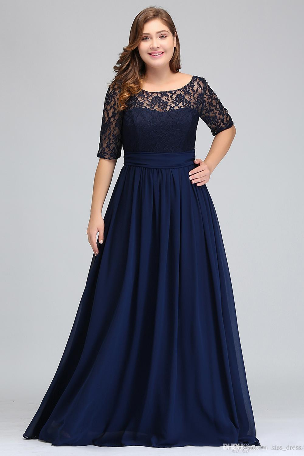 Plus Size Navy Blue Lace Mother Of The Bride Dresses 2019 A Line Half  Sleeve Chiffon Wedding Guest Dress Formal Evening Party Gowns M92 Mother Of  The ...