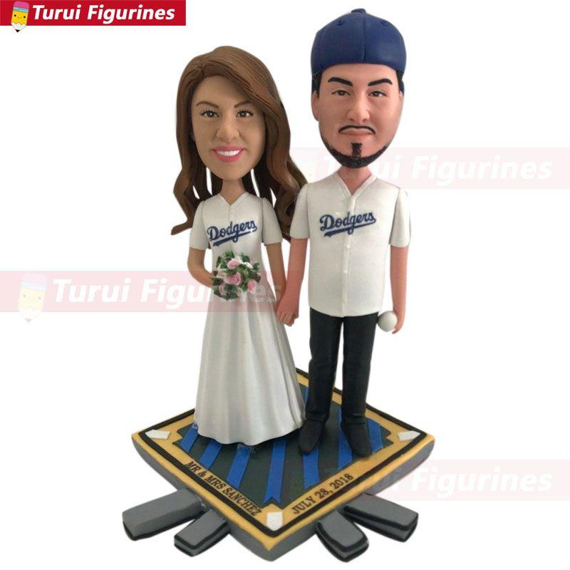 لوس أنجليس دودجرز كعكة الزفاف TopperGroom العروس شخصية كعكة القبعات العالية مخصص رئيس الكرة المتهربين كعكة توبر