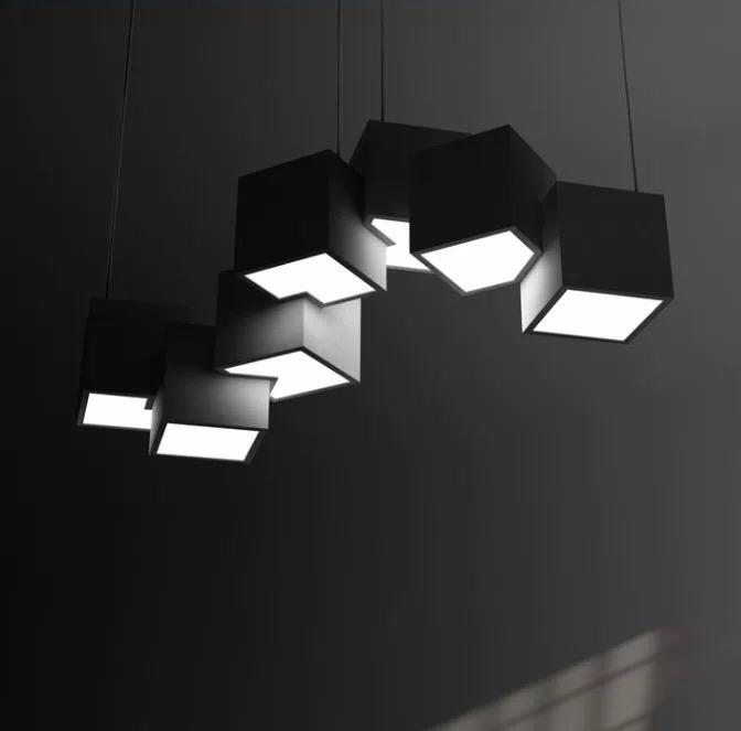 Modern Black White Cube Metal Acrylic Pendant Light Villa Home Decor Art Lighting Chandelier Fixture PA0638