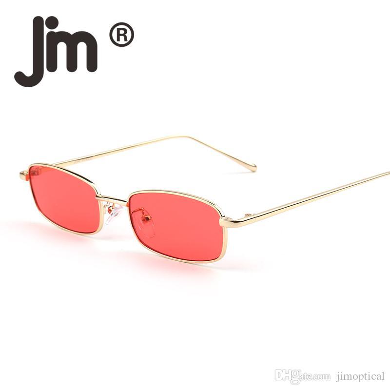 Vintage Kleine Schlanke Klare Linse Getönte Sonnenbrille für Männer Frauen Marke Designer Retro Schlanke Rechteckige Sonnenbrille