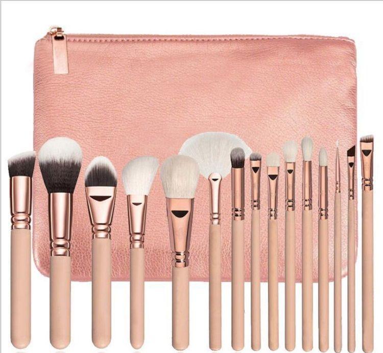Markenqualität Make-up Pinsel 15 Teile / satz Pinsel Mit PU Tasche Professionelle Pinsel Für Puder Foundation Blush Lidschatten
