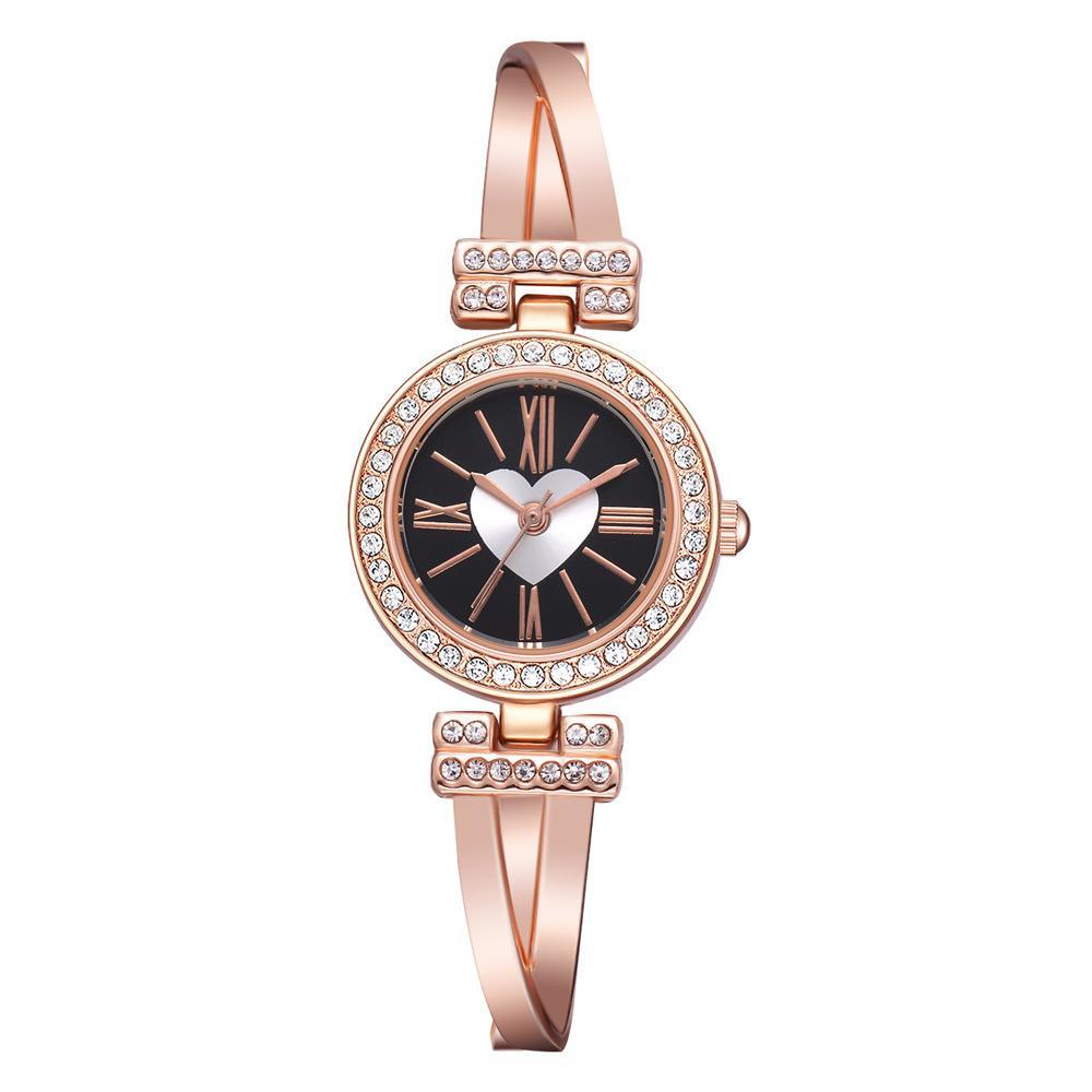 Art und Weise Frauen-Armband-Uhr Minimalism Strass goldene Sliver Edelstahl-Armbanduhr für Damen Geschenk