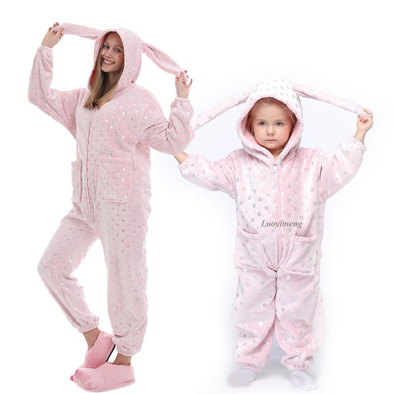 Boys Girls Pajama Sets Kigurumi Rabbit Unicorn Pajamas For Women Pijimas Cat Onesie Adults Animal Sleepwear Winter Pyjamas Kids