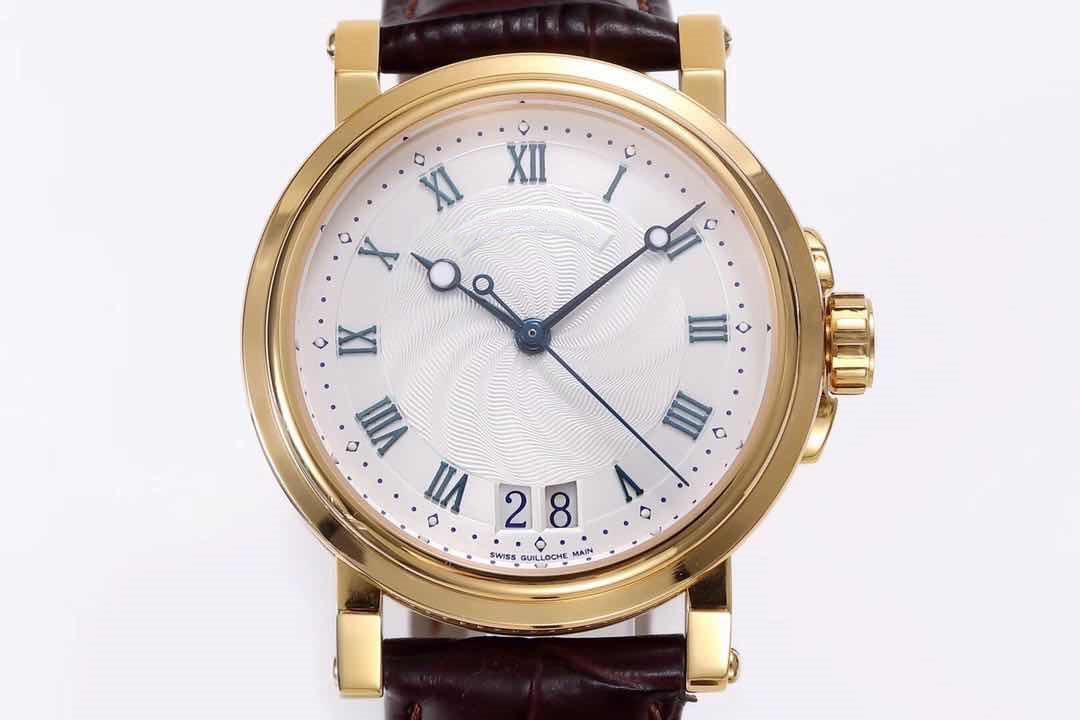 usine HG diamètre machines manuel Cal.517GG 39MM cuir watchband eau en or 18K Ripple cadran homme miroir saphir montre