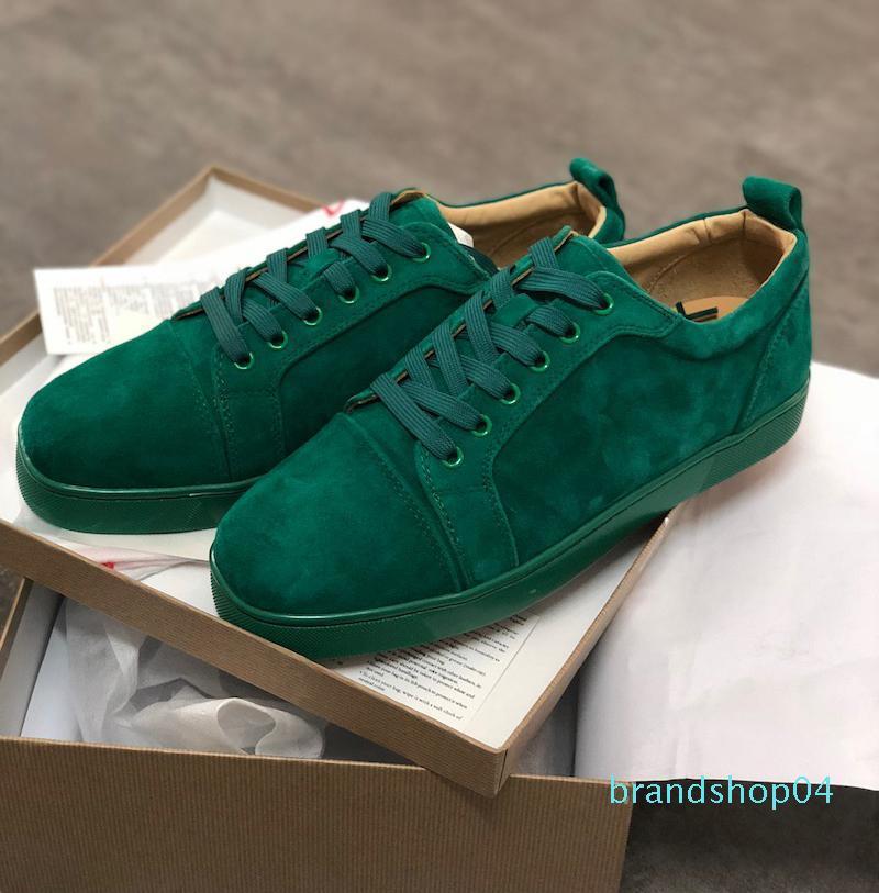 Designer scarpe da ginnastica rosse fondo piatto Spikes Velours Suede Sneakers grigio ferro uomini formatori 100% pattini del partito di cuoio reali US 5-12,5 lll