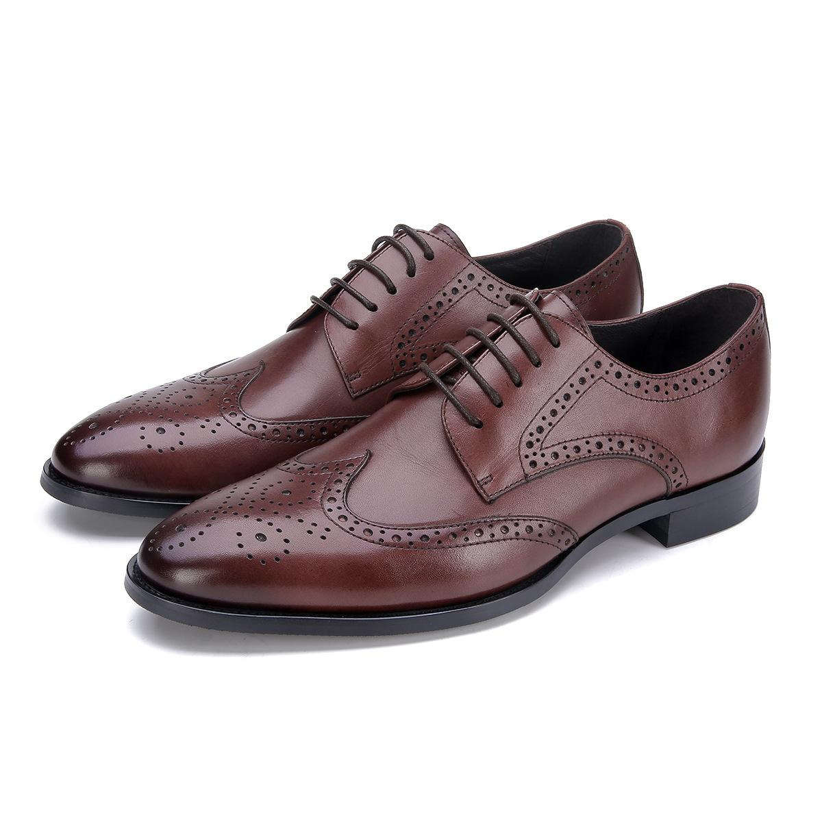 Men's Leather Shoes Varved Men's Leather Shoes Zapatos De Hombre Comfortable Leather Breathable Wedding Wear