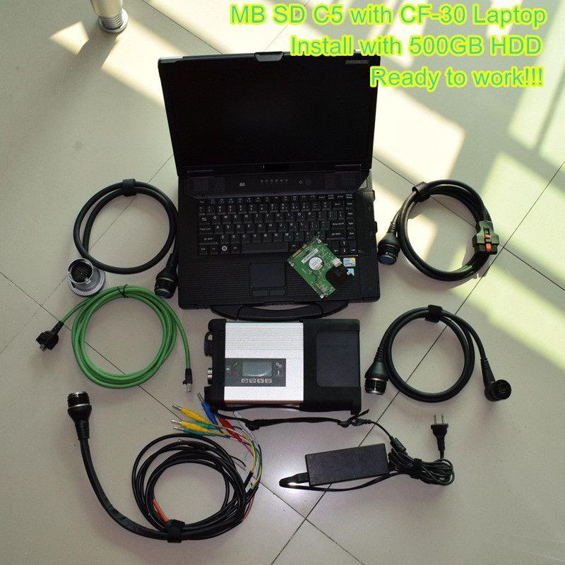 2019.03 MB Estrela C5 SD Connect sd c5 com Laptop cf-52 (8g, i5) Scanner de diagnóstico para Benz Star C5 Cars Trucks