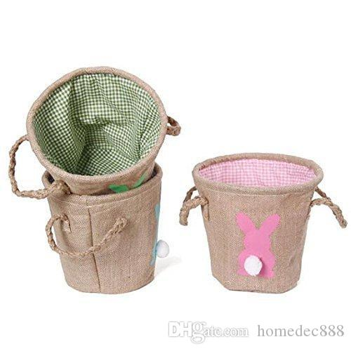 Carry Eggs Candy DIY Rabbit Burlap Canvas Easter Basket Bunny Storage Jute Rabbit Tail Baskets Cute Bag Home Tools Easter Gift DH0546