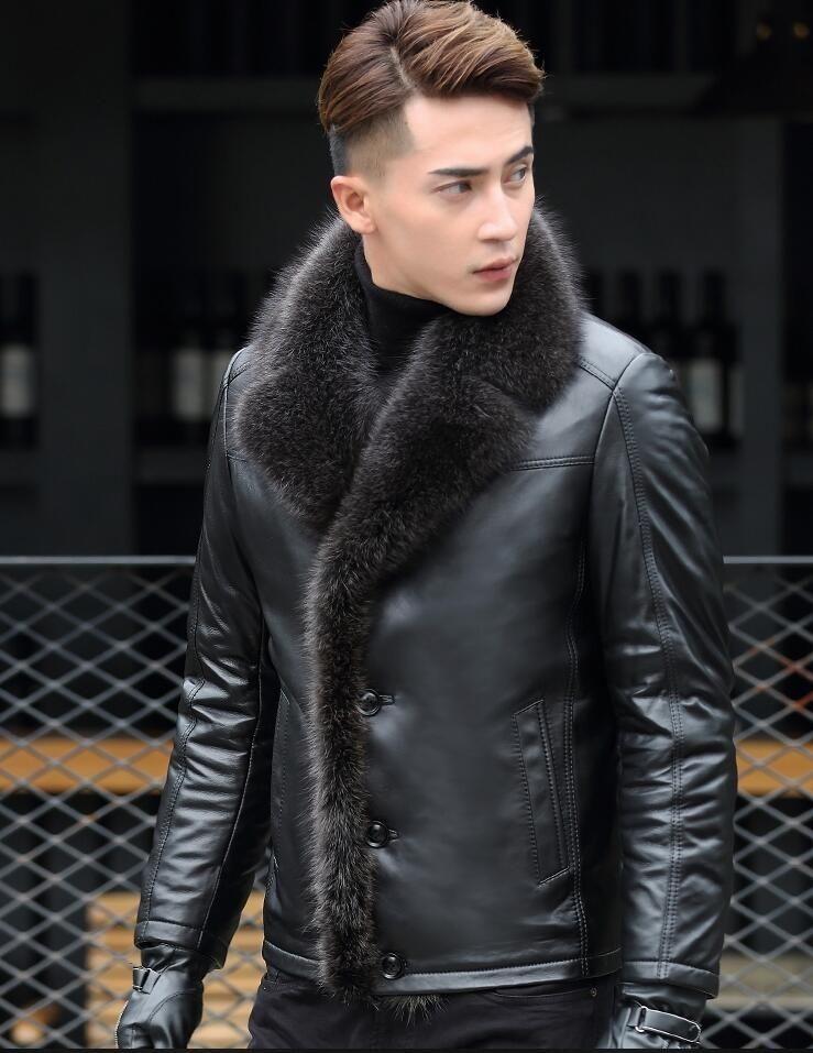 gola de pele de guaxinim Homens Casaco de couro 2019 do New Men Inverno carneiro Fur uma jaqueta de couro genuíno masculino Warmer couro jaquetas CJ191118