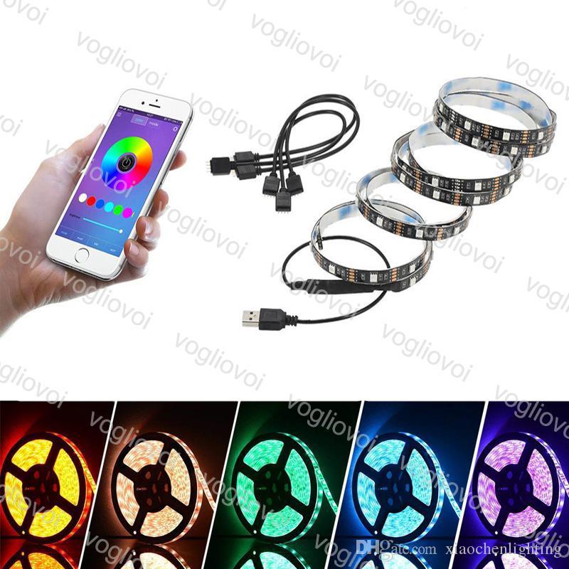 LED-Streifen Bluetooth RGB-Licht 5050 Wasserdichte DC 5V USB 1M 2M App Mobiltelefon Controller Feiertagsbeleuchtung für TV Hintergrund DHL