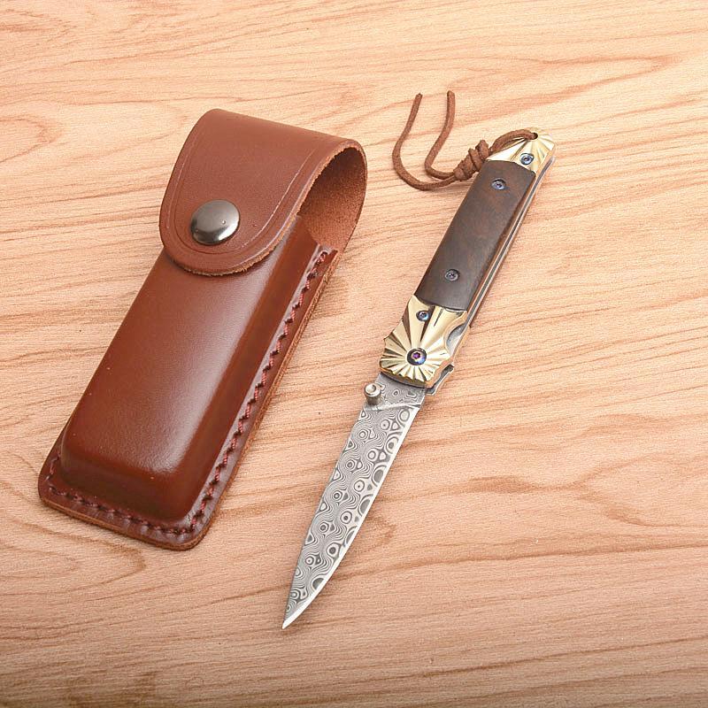 Envío de la gota de Damasco Recopilación de cuchillo plegable de acero de Damasco de la lámina de cobre + manija del ébano cuchillos de bolsillo con la envoltura de cuero