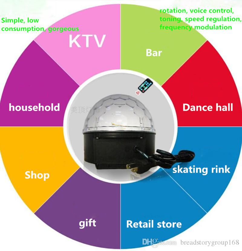 220V Digital RGB LED Music Crystal Magic Ball Effect Light 18W MP3 SD USB DMX Disco DJ Stage Lighting Remote Control Bluetooth Control