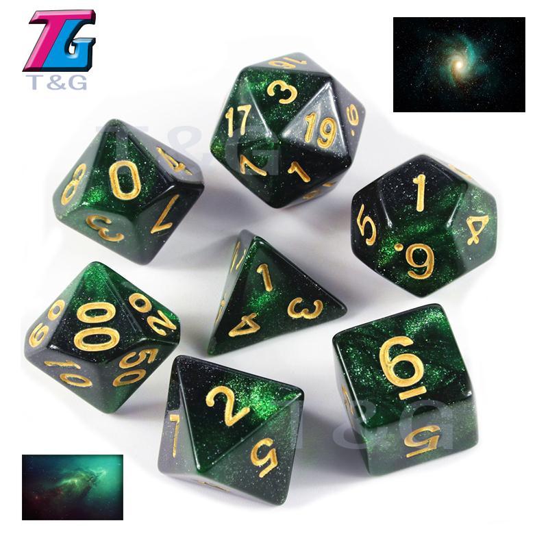 Ensemble de dés multicolores Galaxy Effect D4-D20 DND DICE SETS DONDONS ET DRAGONS Jeu de cartes