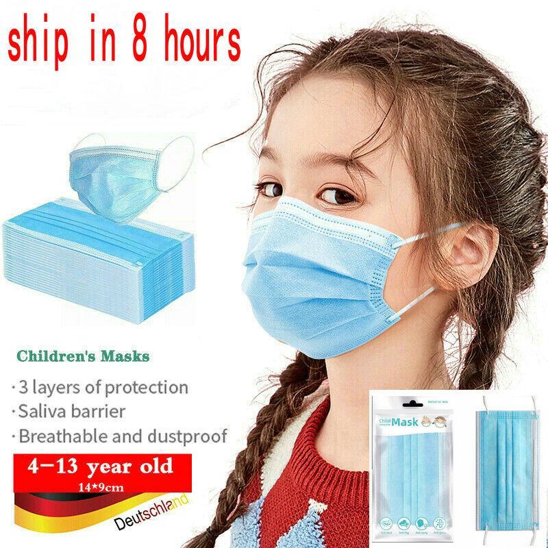 en stock 10Pcs emballages de vente au détail 3-12 ans Enfants masque enfants masque concepteur masque jetable PM2,5 de protection anti-poussière bouche pas de soupape