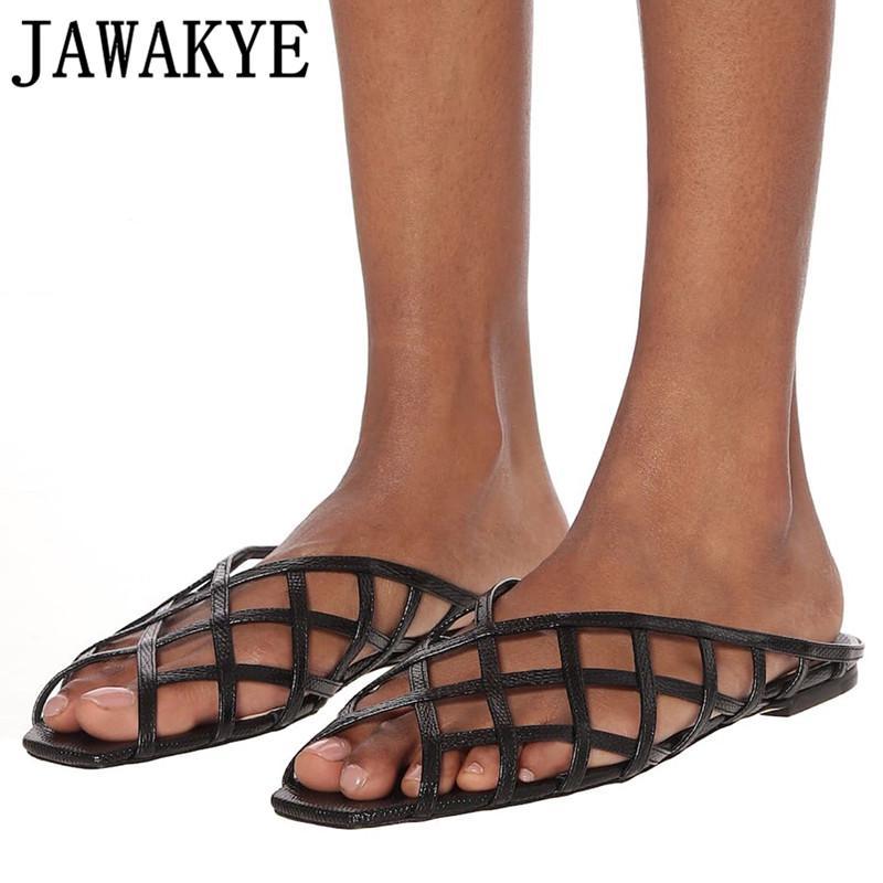 Nueva red de pesca de verano zapatos de cuero de las mujeres mulas Zapatillas atractivo del diseñador de zapatos de fiesta hueco diapositivas de las señoras sandalias planas chanclas