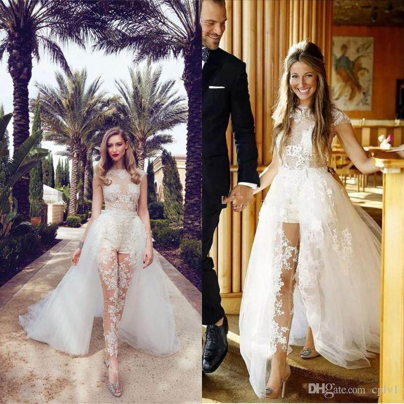 Свадебное платье Свадебные платья Illusion Комбинезоны съемными поезд Кружева Аппликации Cap рукава тюль Overskirt с карманом свадебных платьев