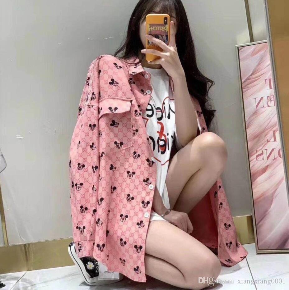 여자의 긴 코트 디자이너 봄/여름 새로운 여성의 건 야구 컬러의 셔츠 인쇄 고급 t-셔츠 무료배송