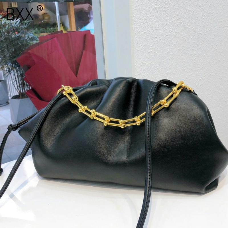 [BXX] Sólido Cuero Color PU Crossbody nubes bolsa para las mujeres 2020 Calidad cadena del hombro Messenger Bag Señora de viaje bolsos HK287