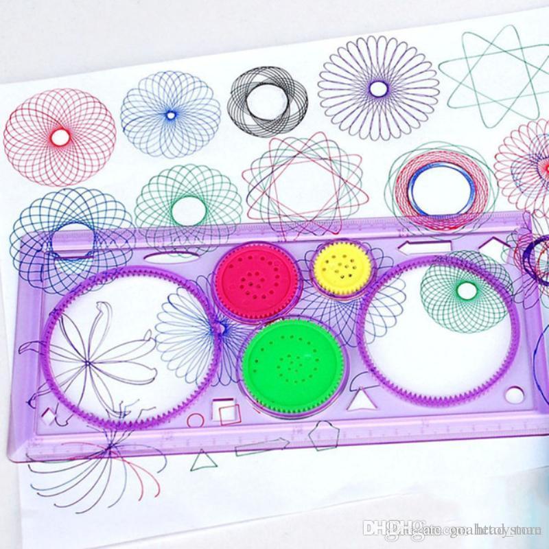 HT 퍼즐 스피로 그래프 어린이 그리기 플라스틱 통치자 학생 그리기 설정 학습 예술은 어린이를위한 창조적 인 선물 세트