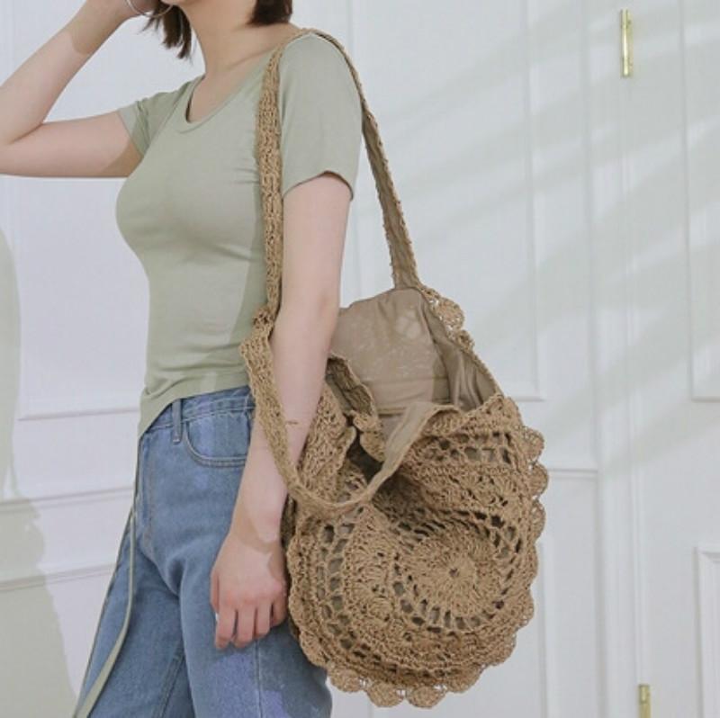 Bohemian Круглый Ротанг мешки тканые соломы Женщины сумки ручной работы Плетеные плеча сумки большой емкости леди Casual Summer Beach Bag