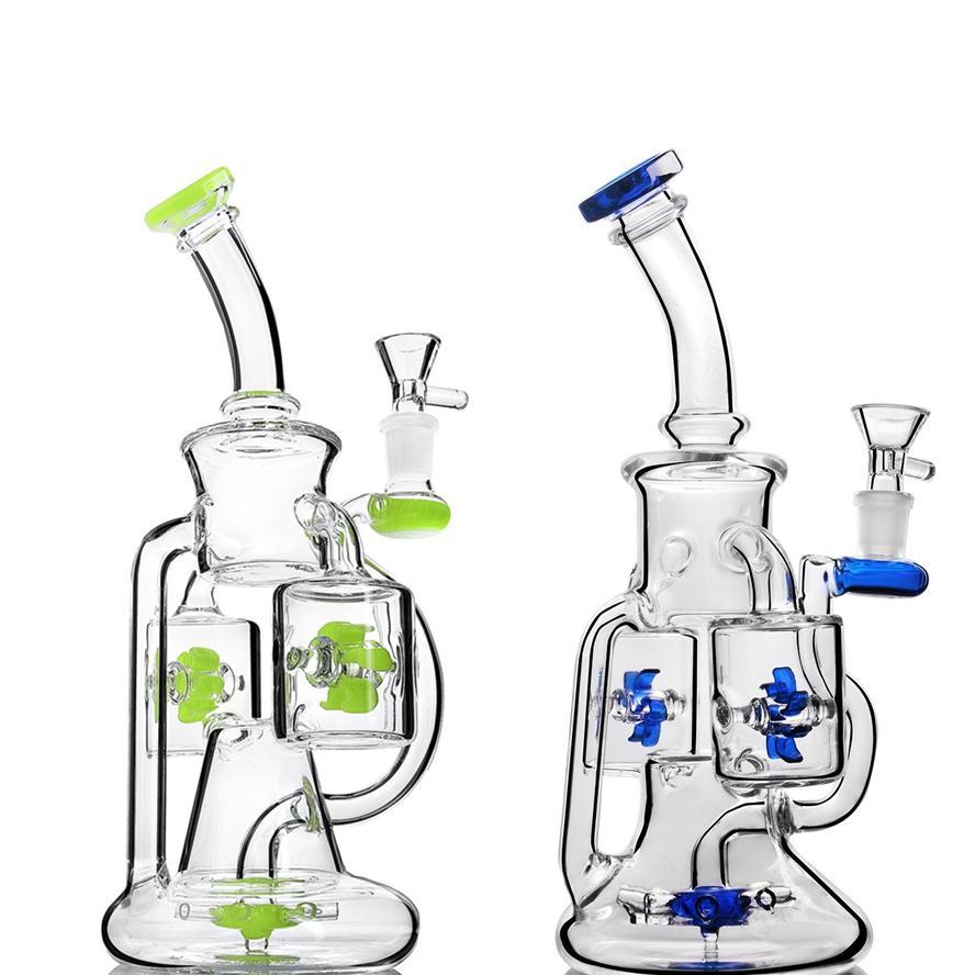 """8,7"""" en verre épais Les conduites d'eau Recyler Heady verre Beaker Bangs avec deux couches Filtre Rocket refusion Fan Rotating le moulin à vent"""