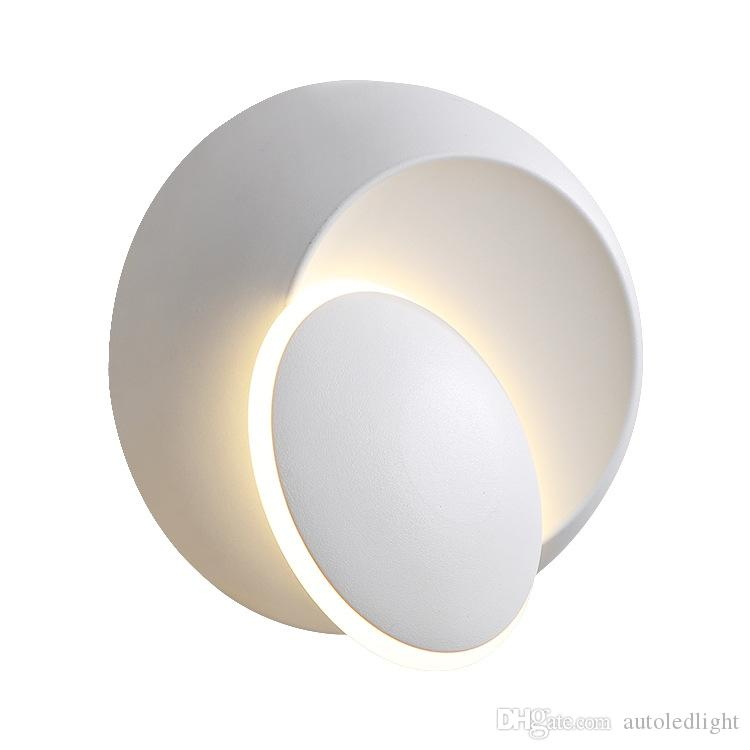 Wall Lamps Black White 90-260V Wall Light Indoor Led Wall Lamp Bedroom 360 angle Rotatable Plated Metal 5W Led Sconce Creative Bulb