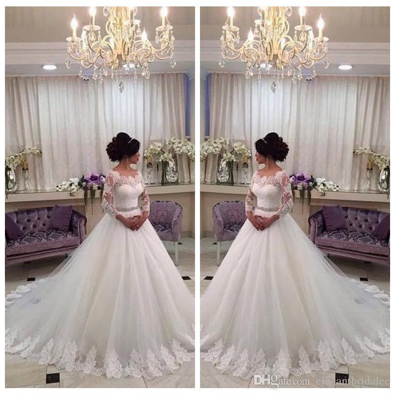 Lace Quarter Sleeves A-Line Wedding Dresses Bridal Gowns Modest 2020 Church Lace Appliques Crystal Sash Bling Bling Vestidos De Mariee