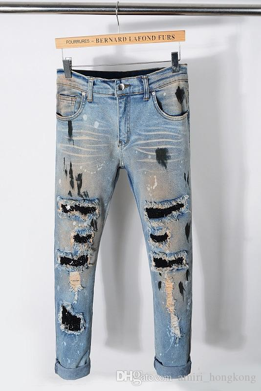 New Style Fashion Mens Straight Slim Fit Biker Jeans Pants Distressed Skinny Ripped Destroyed Denim Jeans Washed Hiphop Trousers 2216