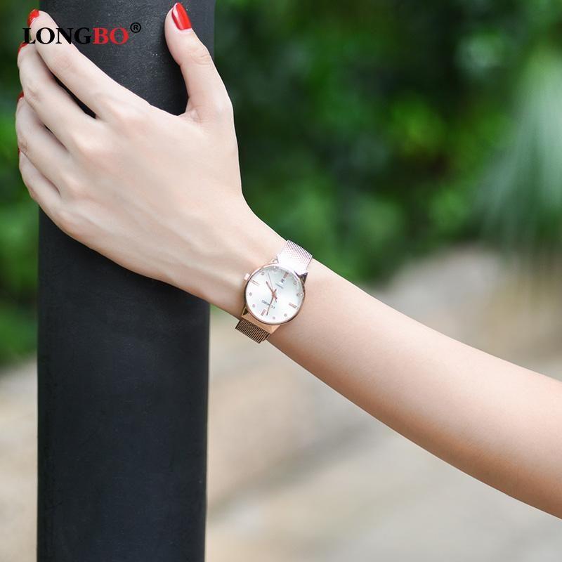 Longbo negócio luxo mulheres diamante relógios japão quartzo 5 atm à prova d 'água senhoras assistir aço inoxidável moda reloj mujer brw 5028