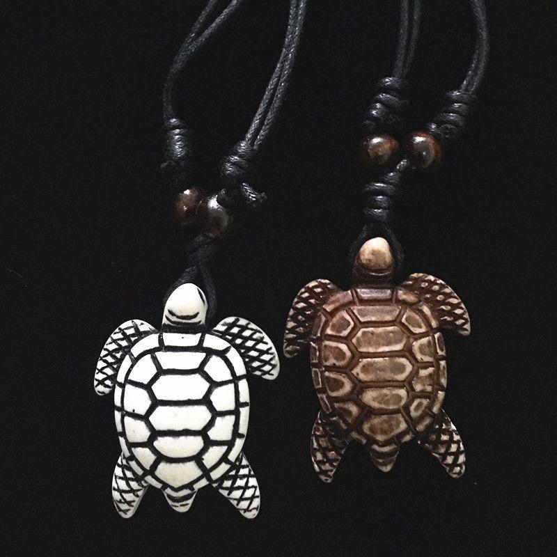 Turtle necklace Men Women's Imitation Yak Bone Cute Tortoise Hawaii Tribal Surfer Sea Turtles Charms Pendants Necklaces