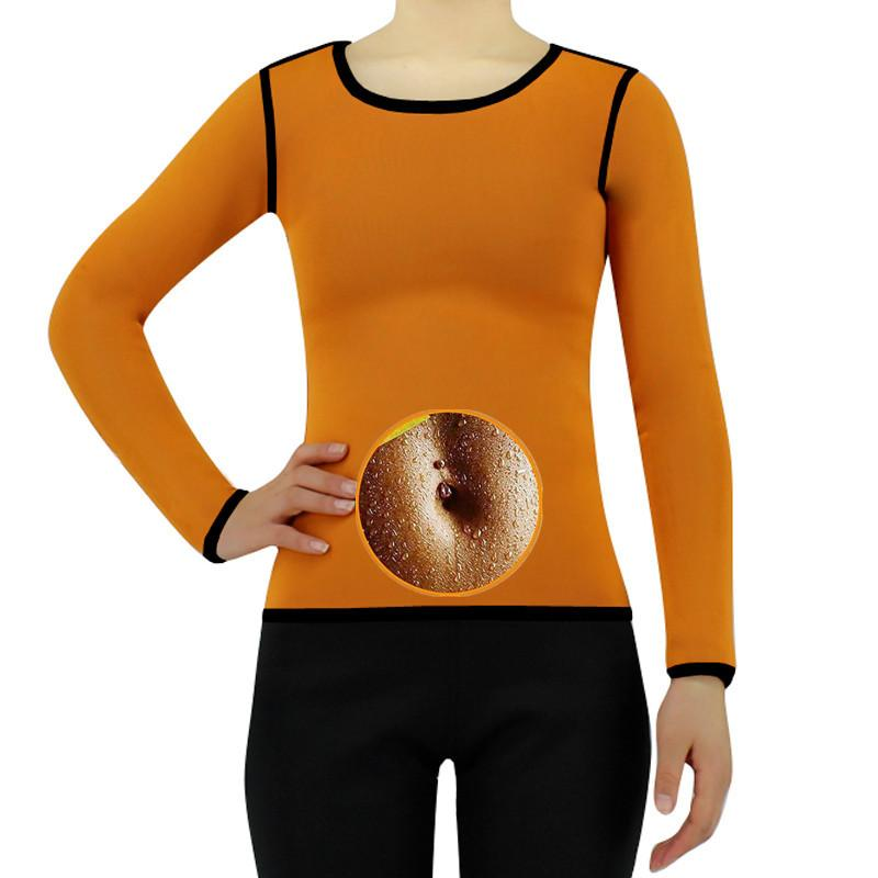 Néoprène à manches longues T-shirts femmes Yoga Gym Compression Collants de sport Fitness rapide course à sec Tops Body Shaper T-shirt