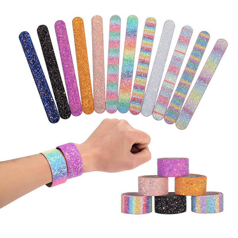 arco iris niños venta caliente de lentejuelas pulsera de los niños la celebración de días manguito niños niñas pulsera pulsera de los niños chicos manguito de puño accesorios B1128