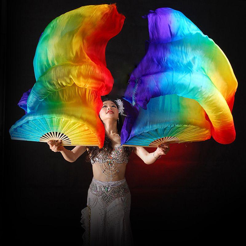 100% Silk Stage Performance Props 1 Pair Dance Silk Fans 180cm Long Veils Rainbow Belly Dance Veils Fans