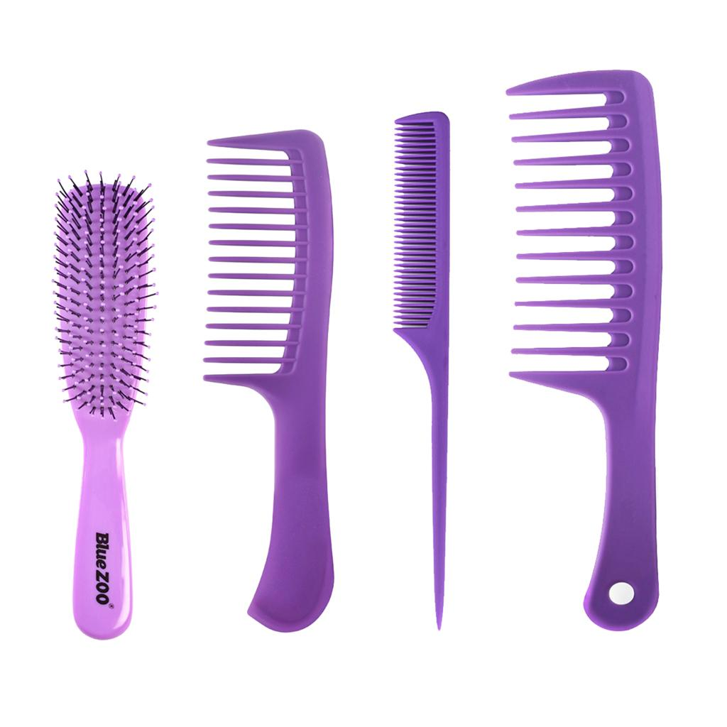 4adet Kuaförlük Fırça Combs Saç Profesyonel Salon Styling Berber Combs Kiti