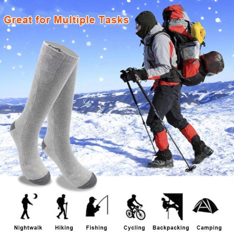Elétrico recarregável Aquecimento Quente Meias temperatura ajustável bateria de lítio Infrared Esporte Socks Unisex pé quente lavável