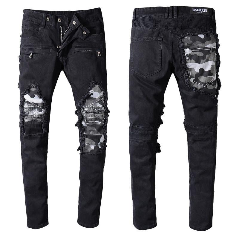 Jeans Mens Fashion Style afligido rasgado Biker Jeans Slim Fit Motociclista Jeans Moda Jeans Calças