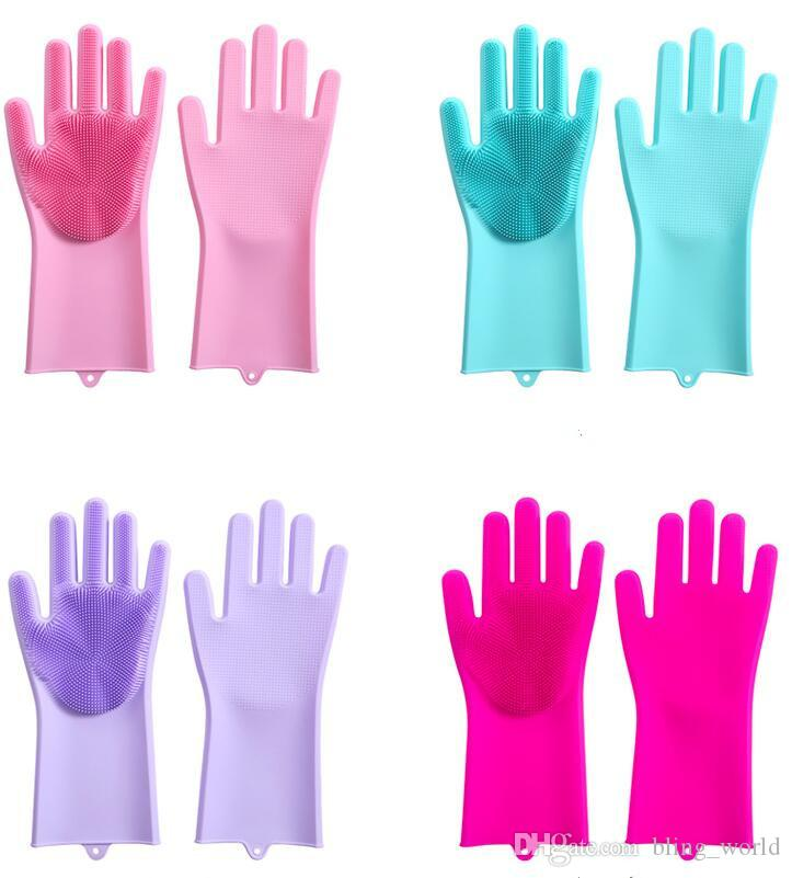 Magic Silicone Dish Washing Gloves Solid Color Dish washing Glove Kitchen Accessories Cleaning Car Pet bath Brush Household Tools CLS306