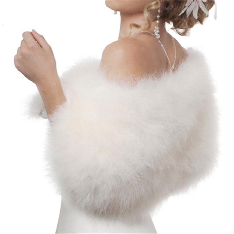 Luxurious Ostrich White Feather Wrap Bridal Fur Jacket Marriage Shrug Coat Bride Winter Wedding Party Fur bolero women chaqueta MX191022