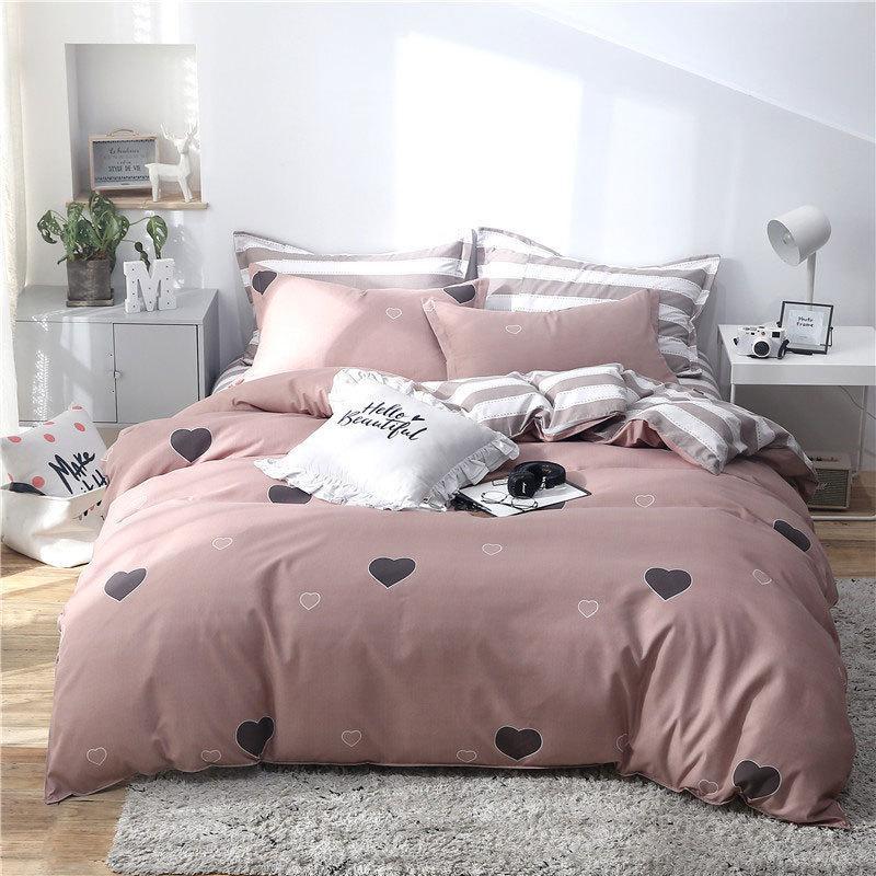 Deer Tropical Leaf 4er Bettbezugset Cartoon Bettbezug Kind Erwachsene Bettwäsche und Kissenbezüge Tröster Bettwäsche-Set 61001
