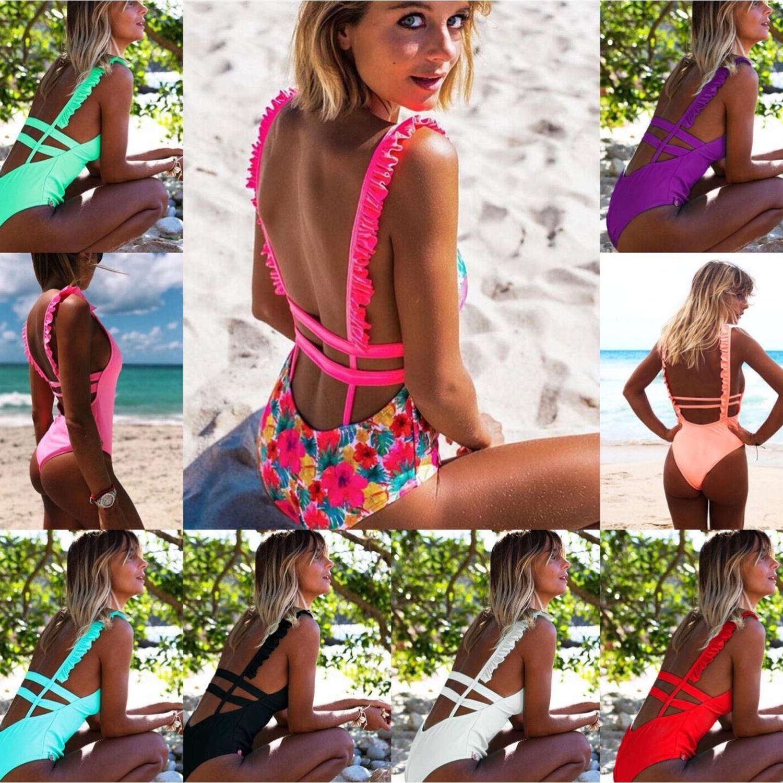 Bikini de playa estampado de una pieza para mujer de 2019, nuevo color 11, nuevo