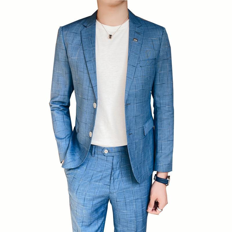 Latest Fashion Designs Abiti da sposa cielo blu uomini del vestito Texudos Uomini visiera risvolto formale personalizzato sposo Slim Fit 2 pezzi (Jacket + pant)