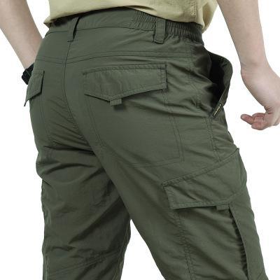 Pantalones peso ligero impermeable y transpirable pantalones ocasionales de los hombres finos del verano Pantalones Cargo táctico Trabajar el secado rápido de los hombres de