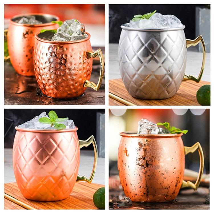 5styles 500ml Moscow Donkey Copper Mug Stainless Steel Rose Gold Copper Plated Beer Cup Mule cocktail special cup T9I00201